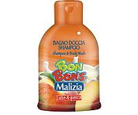 Шампунь-гель для душа молоко и персик «Malizia Bon Bons, Mirato» 500 мл