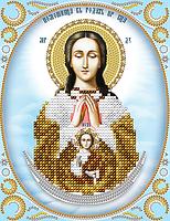 """Схема для вышивки бисером на атласе икона """"Богородица Помощница в родах"""" (серебро)"""