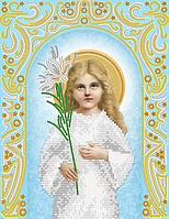 """Схема для вышивки бисером на атласе икона """"Богородица Трилетсвующая"""" (серебро)"""