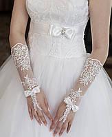 Свадебные перчатки 15-365, сетка, кружева, до локтя