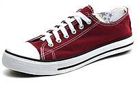 Кеды низкие текстиль бордовые мужские шнурок Converse, фото 1