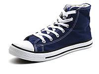 Синие кеды высокие текстиль мужские шнурок Converse, фото 1