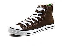 Кеды коричневые высокие текстиль мужские шнурок Converse, фото 1