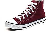 Кеды текстиль бордовыец высокие мужские шнурок Converse, фото 1