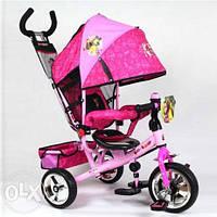 Детский трехколесный велосипед MM 0156-02 MM, три колеса EVA Foam голуб-зел, усиленная двойная ручка