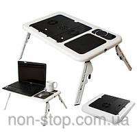 Раскладной столик - подставка для ноутбука Е-Table - 1000320 - столик для ноутбука трансформер, е тейбл с системой охлаждение, кулер ноутбук столик,