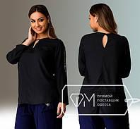 Женская черная блуза туника свободного кроя, р-ры 48. 50, 52, 54
