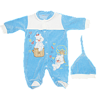 Детский велюровый комбинезон (человечек) на кнопках и шапочка на резинке, ТМ Ромашка+, р. 56, 62, 68, Турция