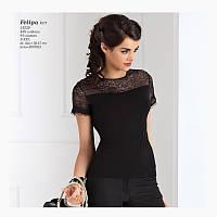 Летняя женская блуза черного цвета с коротким рукавом. Модель Felipa Top-Bis.