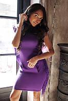 Стильное платье с бахромой в ярких расцветках 01248