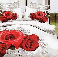 Шикарное постельное из сатина с букетом алых роз
