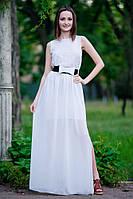 Белое платье с перфорацией в пол, р. 42-44, S