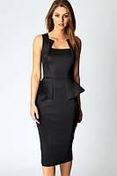 Женское деловое платье черного цвета с воланом на талии L6150-2