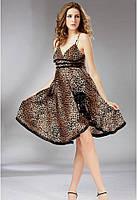 Женское платье сарафан клеш леопардовой расцветки B7518