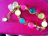 Браслет разноцветные хрусталики + браслет в подарок