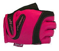 Прочные перчатки для фитнеса и пилатеса из кожи. Розовый