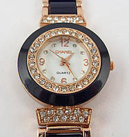 Женские часы Chanel (Шанель) 002 черные с золотом белый циферблат