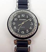 Женские часы Chanel (Шанель) 012878 черные с серебром в стразах