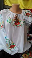 Женская вышиванка с длинным рукавом в маки