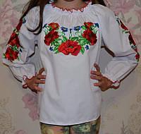 """Нарядная вышиванка для девочки """" Маки"""" , фото 1"""