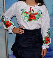 Вышитая блуза для девочки  в маки, фото 1