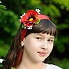Лента на голову с красным маком, можно использовать как пояс.