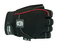 Кожаные, мужские перчатки для силовых тренировок. Черный