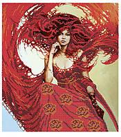 """Схема для частичной вышивки бисером и стразами - """"Огненная богиня"""""""