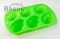 """Форма для выпечки силиконовая 26x17x3,2 см Fissman  """"Пасхальное яйцо"""" зеленая (PR-6702.BW)"""