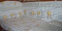 Бампер высокий, раздельный с чехлами на молнии и постель в кроватку детскую