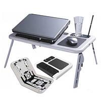 Раскладной столик - подставка для ноутбука Е-Table, столик для ноутбука трансформер, е тейбл с системой охлаждение, кулер ноутбук столик