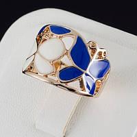 Эффектное кольцо с эмалью и золотым покрытием 0583