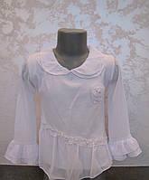 Белая блуза для девочек с цветком