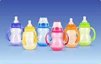 Полипропиленовая бутылочка, станд. горло,соска-непрол. мультипоток,съемные ручки (ас.4,210ml)  3m+ Nuby (1092)
