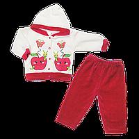 Детский велюровый костюмчик: кофта на кнопках с капюшоном и штаны, тёплый, ТМ Ромашка+, р.68, Турция
