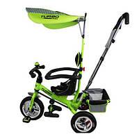 Детский трехколесный велосипед Turbo Trike М 5378-3 Зеленый. Надувные резиновые колеса.