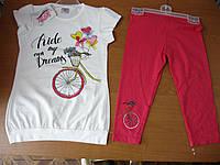 Комплект летний х-б туника с бриджами для девочки 2-7лет.Турция