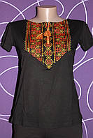 Женская вышиванка черная с орнаментом,  42-50
