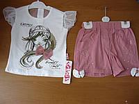 Летний  нарядный комплект футболка и шорты для девочки 4-6лет, Турция.