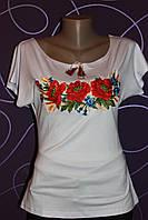 Женская вышиванка белая с большими маками, р 42-50