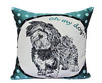 Декоративная подушка собака  KOKI бирюза (гобелен)