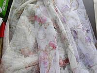 Тюль гардины на сетке с рисунком розы