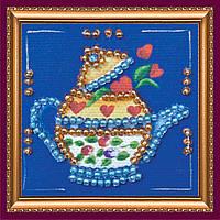 Набор для вышивки бисером магнит Чайник на синем