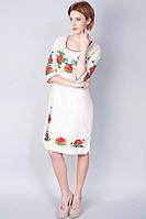 Женское платье вышитое с круглым вырезом горловины и укороченным рукавом, фото 1