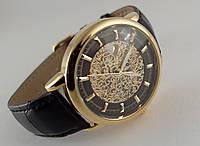 Мужские часы Omega skeleton, механика с автозаводом, золотой с черным циферблат