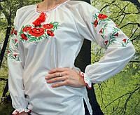 Стильная женская рубашка белого цвета вышитая гдаддю, фото 1