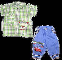 Костюмчик для мальчика: рубашка с коротким рукавом и бриджи; кулир, ТМ Ромашка, р. 86, 92, 98
