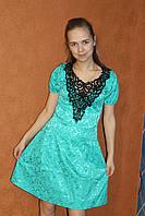 Коктейльное платье из жаккарда с кружевом, р. 44-46