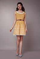 Платье женское с двойной юбкой желтого цвета