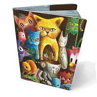 Обложка для паспорта кожаная Цветные коты